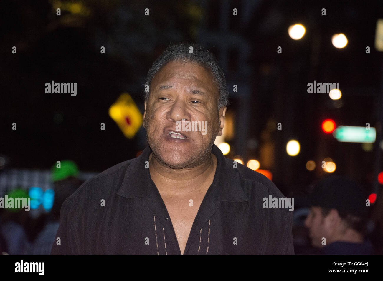 New York, USA. 1st August 2016. Larry Holmes of the Peoples Power Assemblies speaks at City Hall Park. Black Lives - Stock Image