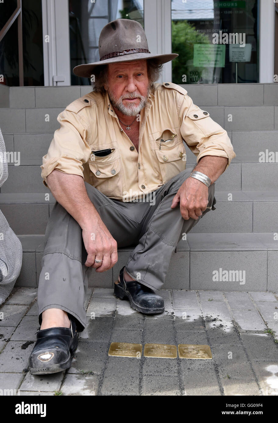 German artist Guenter Demnig, the author of the Stolpersteine (stumbling blocks) project in memory of Holocaust Stock Photo