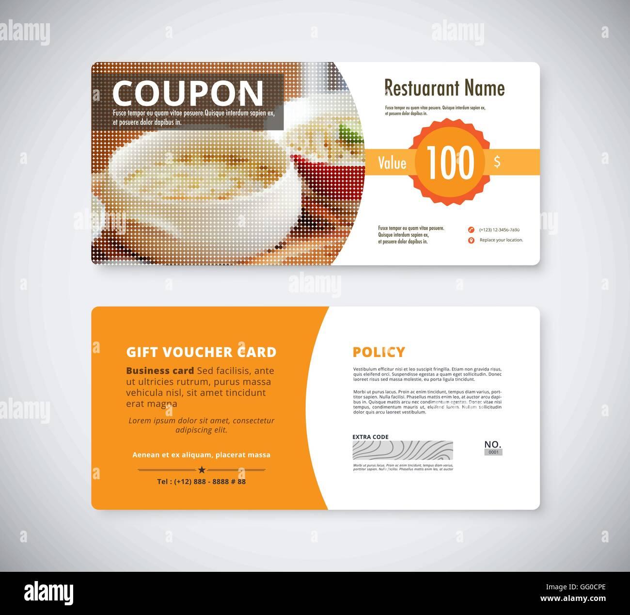 Gift coupon voucher template for restaurant. flyer brochure vector ...