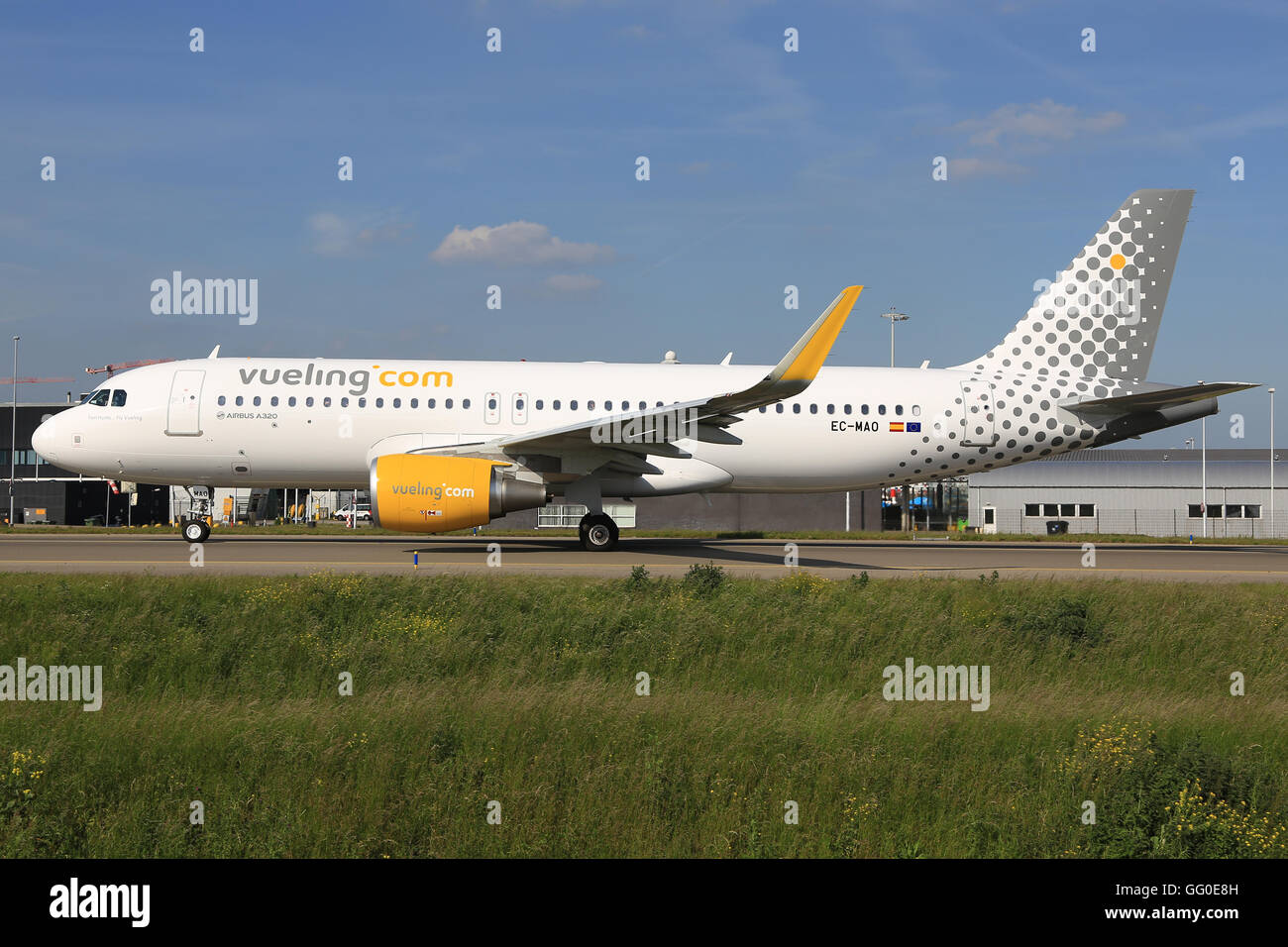 Amsterdam/Netherland August 5, 2015: Aurbus A320 from Vueling at AmsterdamAirport. - Stock Image