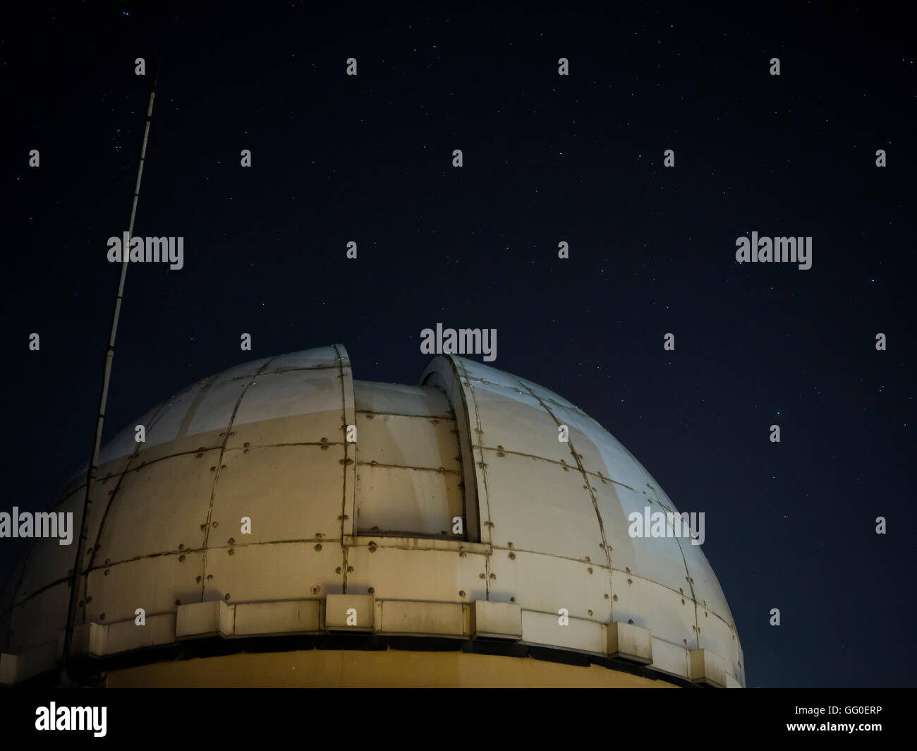 Observatory in the night sky and see the stars Stock Photo