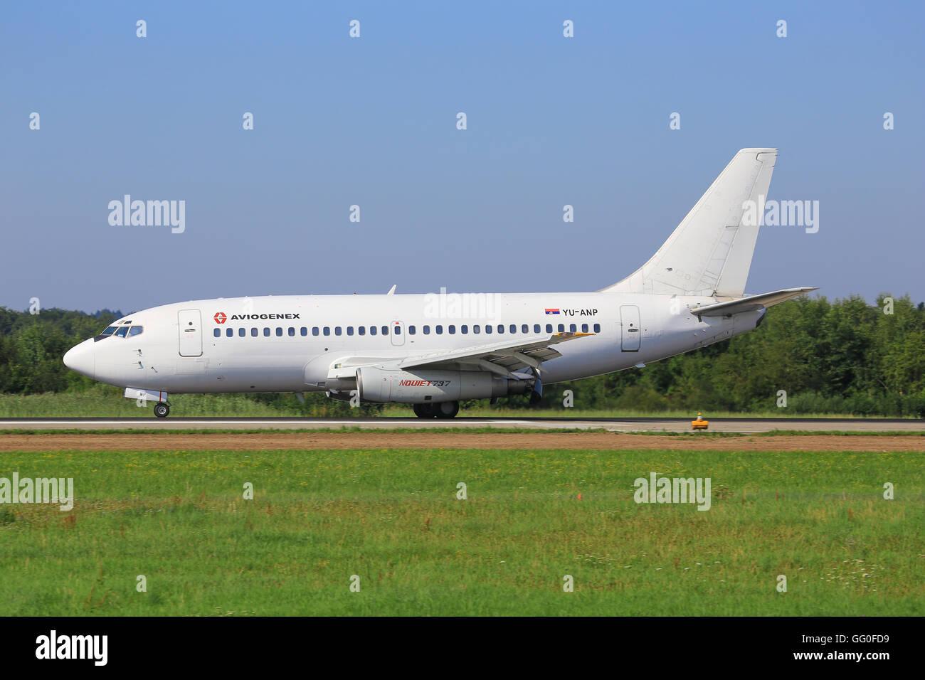 Zurich/Switzerland August 2, 2014: Boeing 737-200 at Zurich Airport. - Stock Image