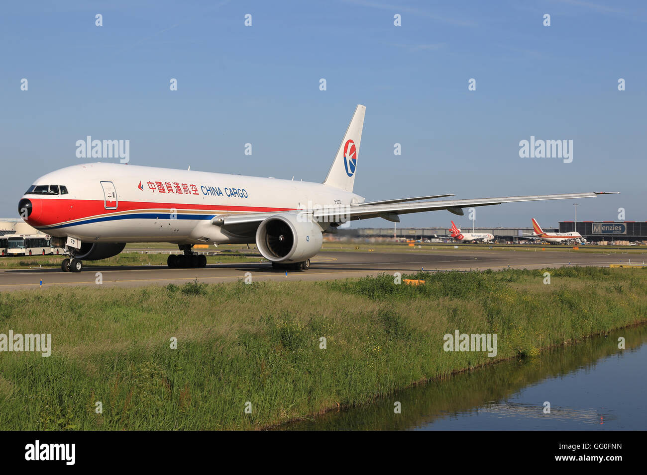 Amsterdam/Netherland August 5, 2015:Boeing 777 from China Cargo at AmsterdamAirport. - Stock Image