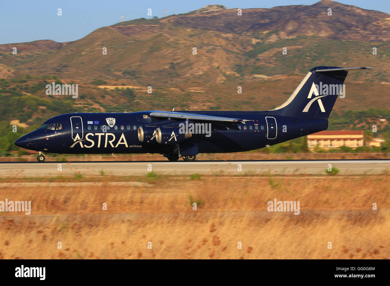 Zakynthos/Greece Februar 15, 2012: Avro Bae 146 from ASTRA Airliners at Zakynthos Airport. - Stock Image