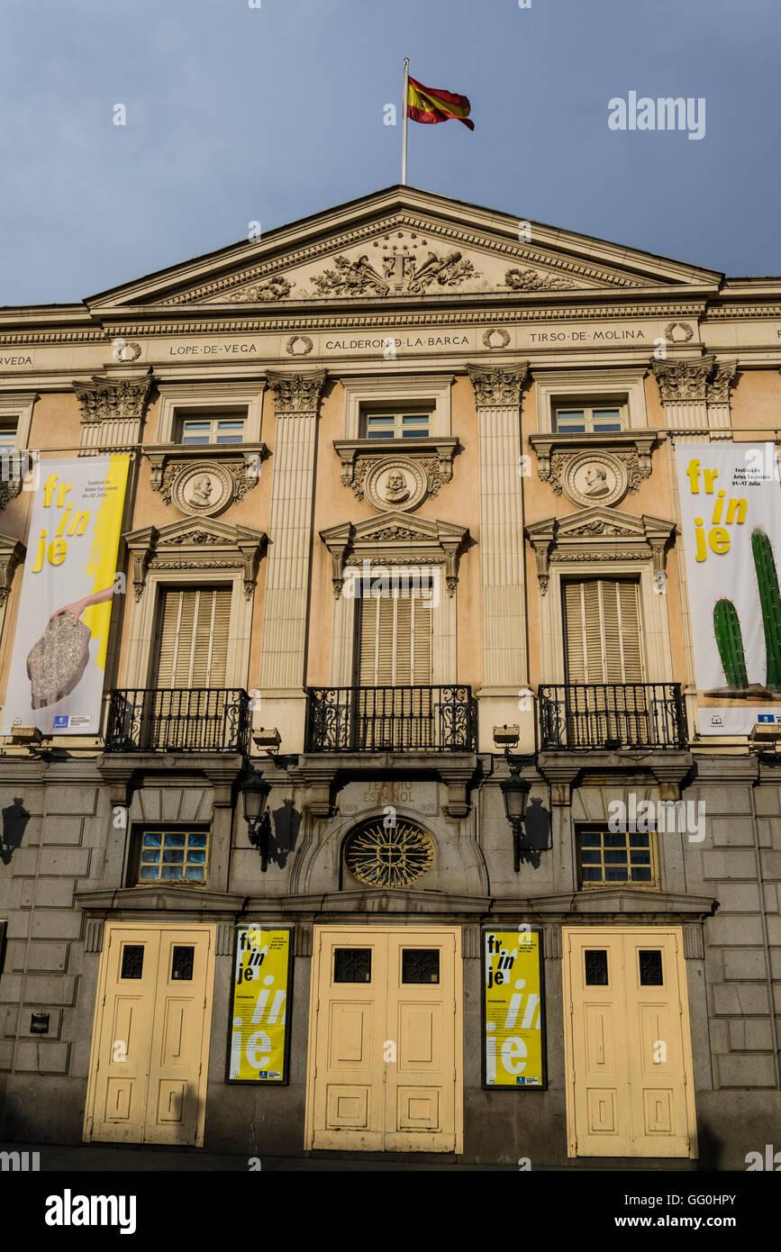 Spanish Theatre, built in 16th century, Plaza de Santa Ana, El Barrio de las Letras, Madrid, Spain - Stock Image