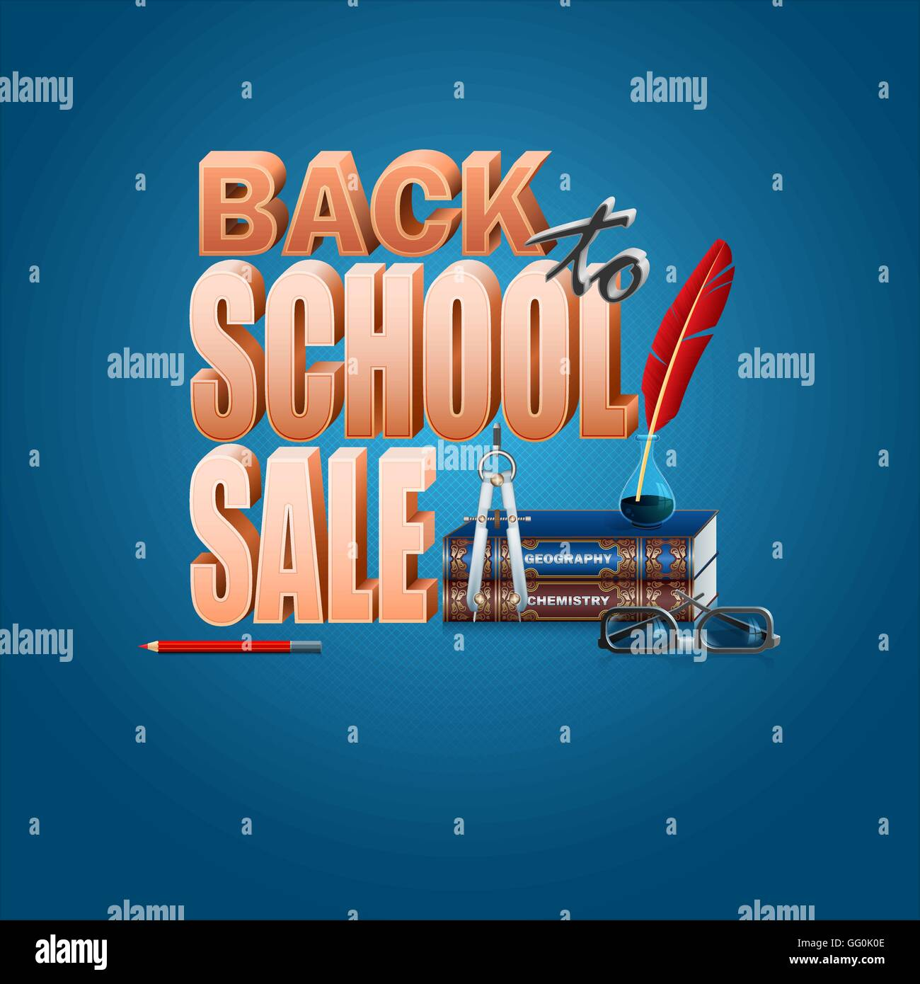 Abstract vector, design background with Back to school, commercial event Stock Vector