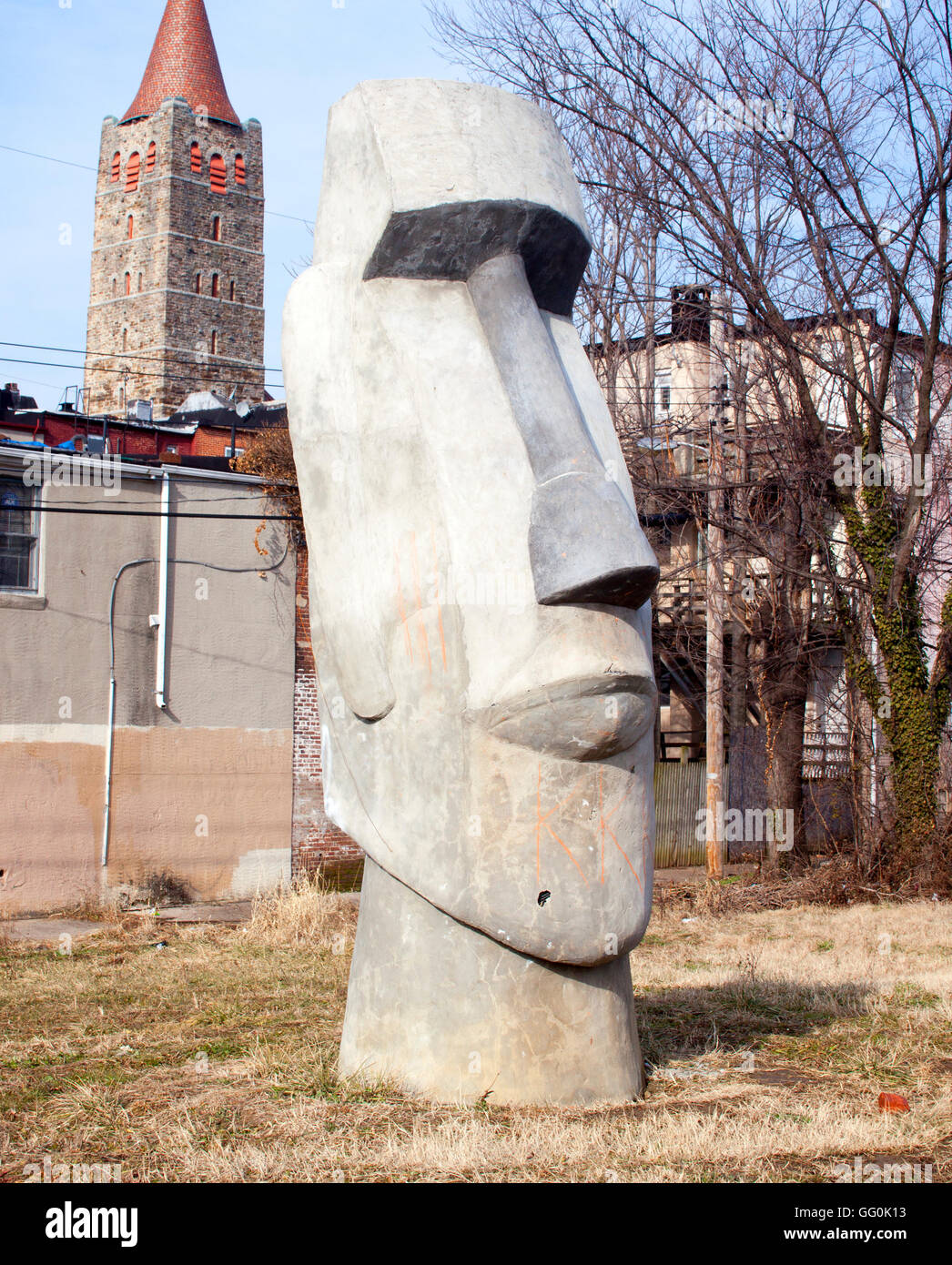 Easter Island Head in Baltimore Maryland - Stock Image