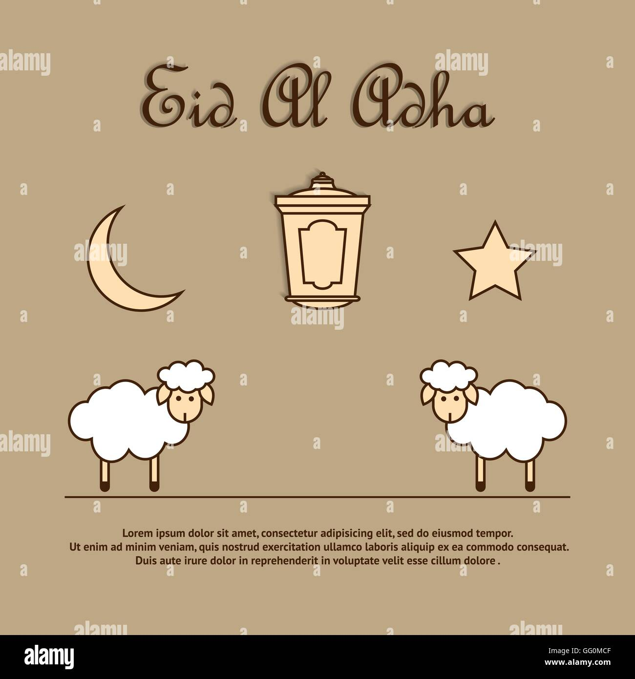 Greeting card template for eid ul adha with sheep stock vector art greeting card template for eid ul adha with sheep m4hsunfo