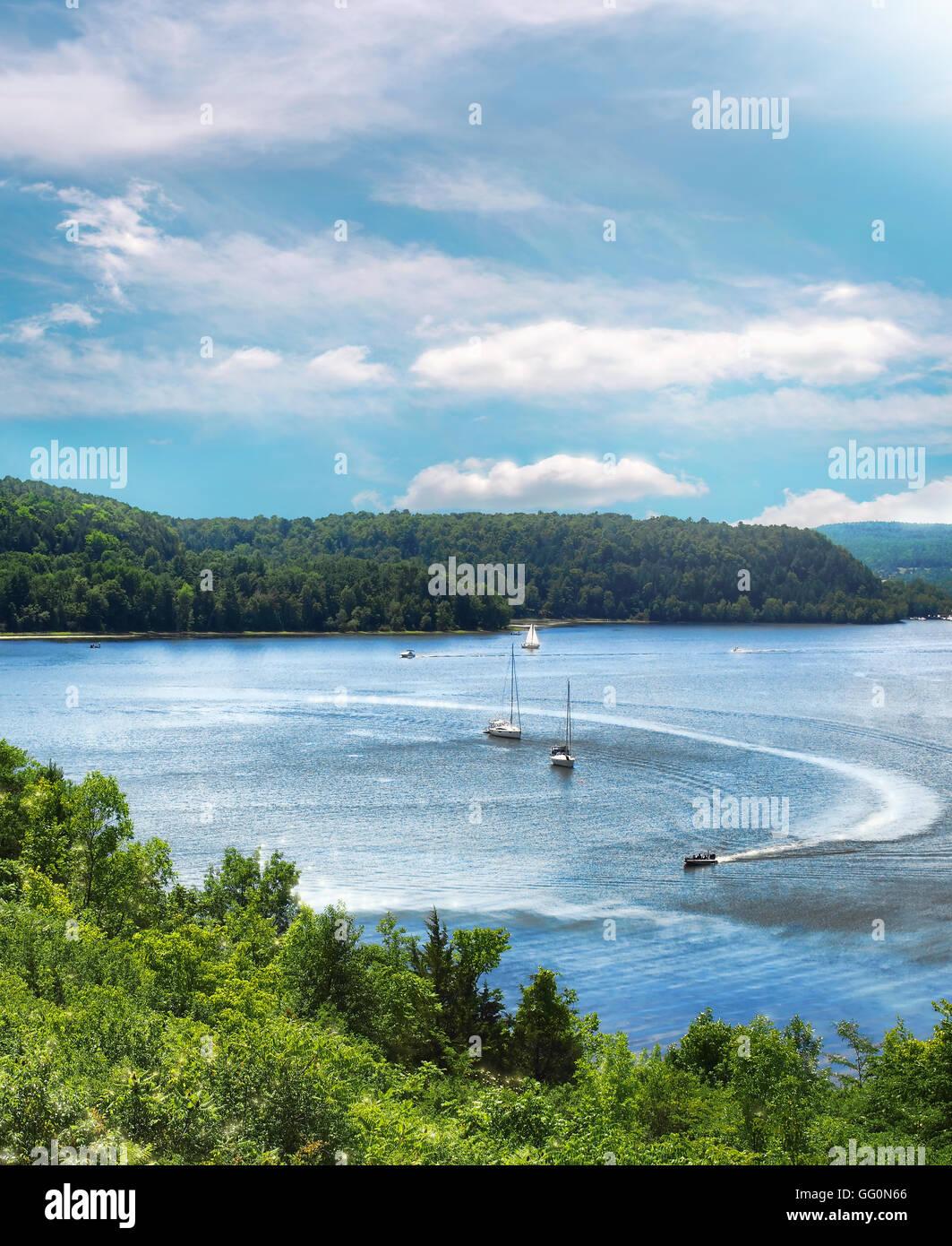 Lake Champlain on a beautiful summer day - Stock Image