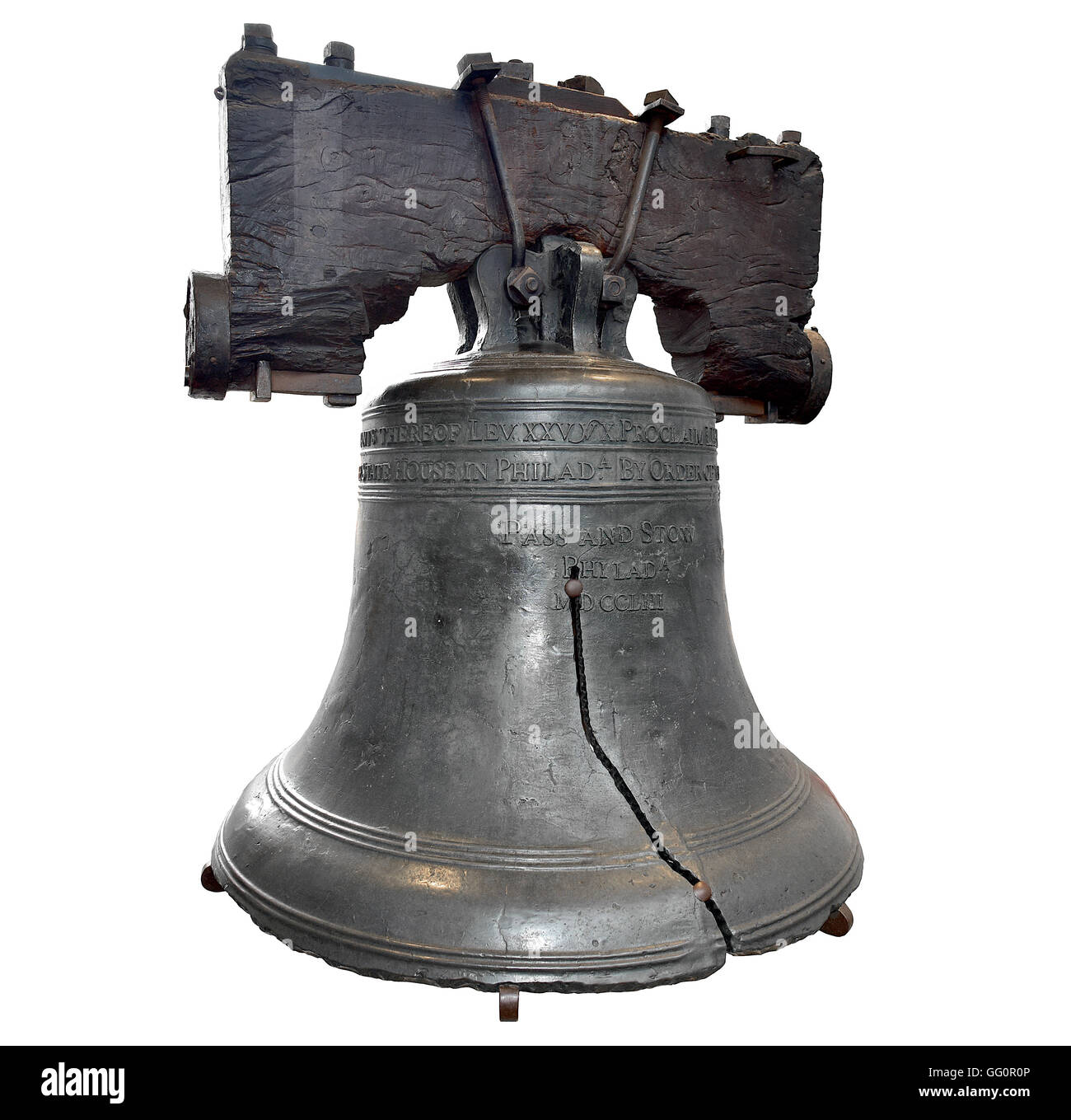 U.S. Liberty Bell in Philadelphia Isolated on White Background - Stock Image