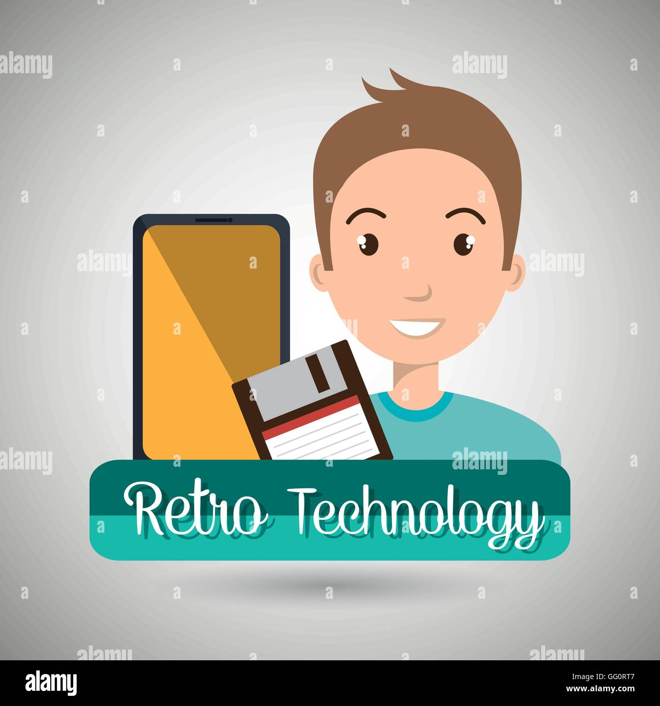 person retro technology system - Stock Image