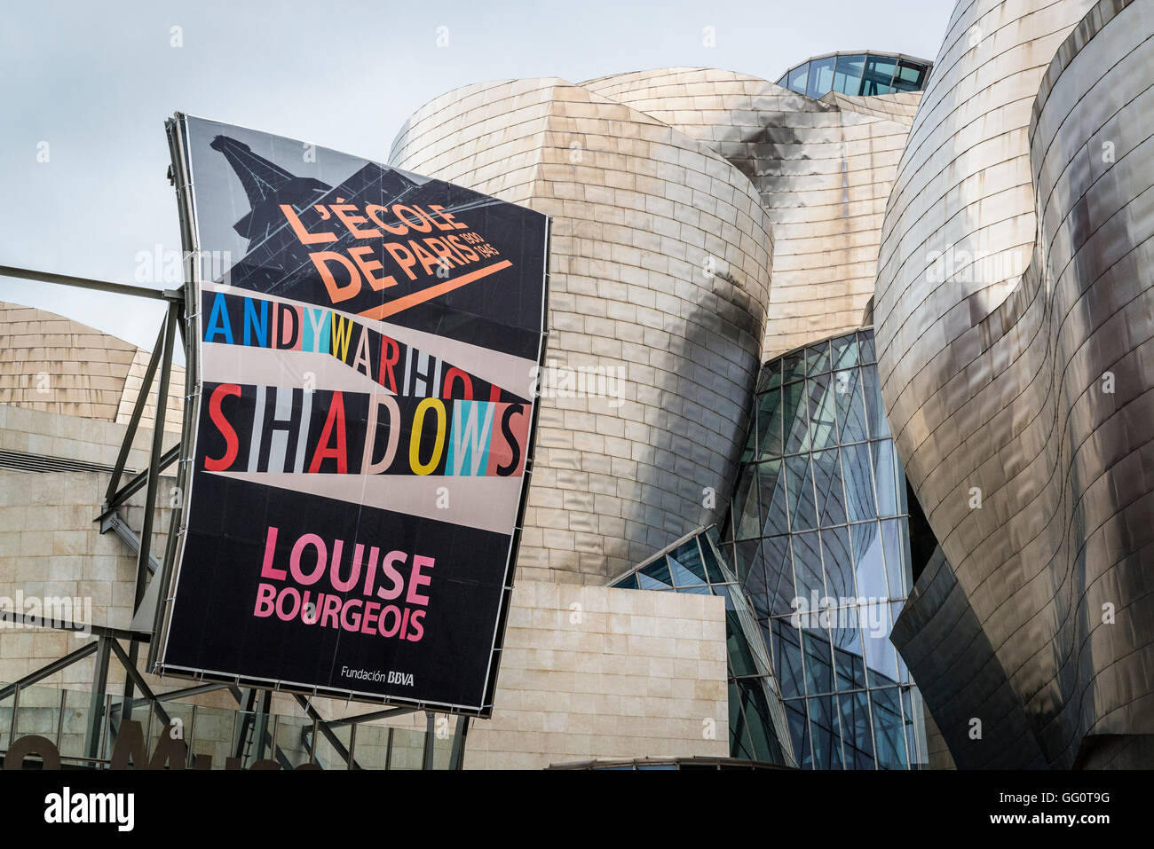 Louise Bourgeois exhibition, Guggenheim Museum, designed by Frank Gehry, Bilbao, Basque Country, Spain Stock Photo