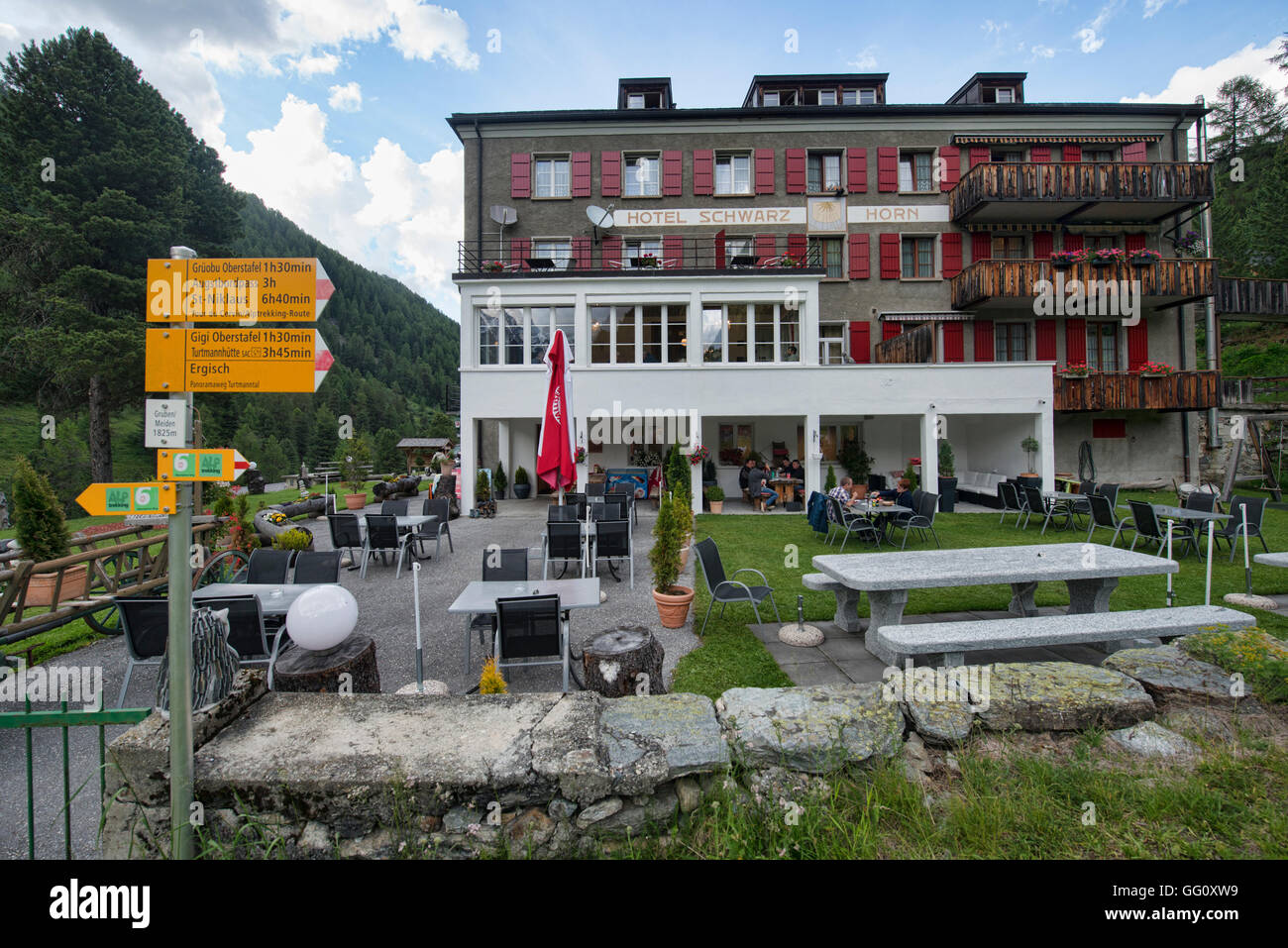 Hotel Schwarzhorn provides an overnight stop for Haute Route trekkers, Gruben, Turtmanntal, Switzerland Stock Photo
