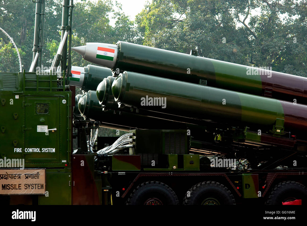 Missile weaponry Republic Day Parade India Arms warfare New Delhi, India - Stock Image