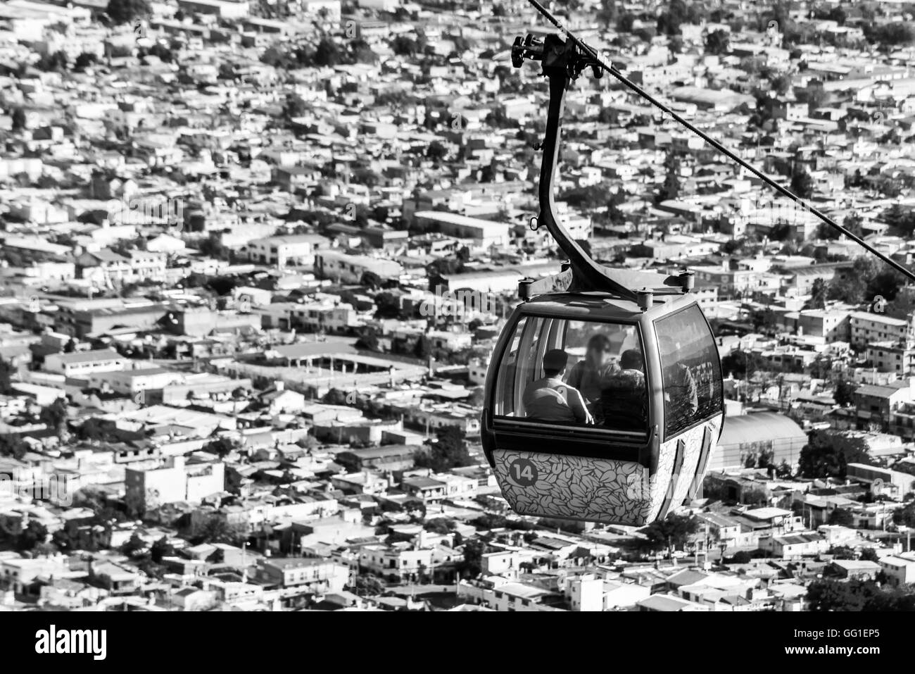 cable car in the city of Salta, Argentina. Black and white Stock Photo