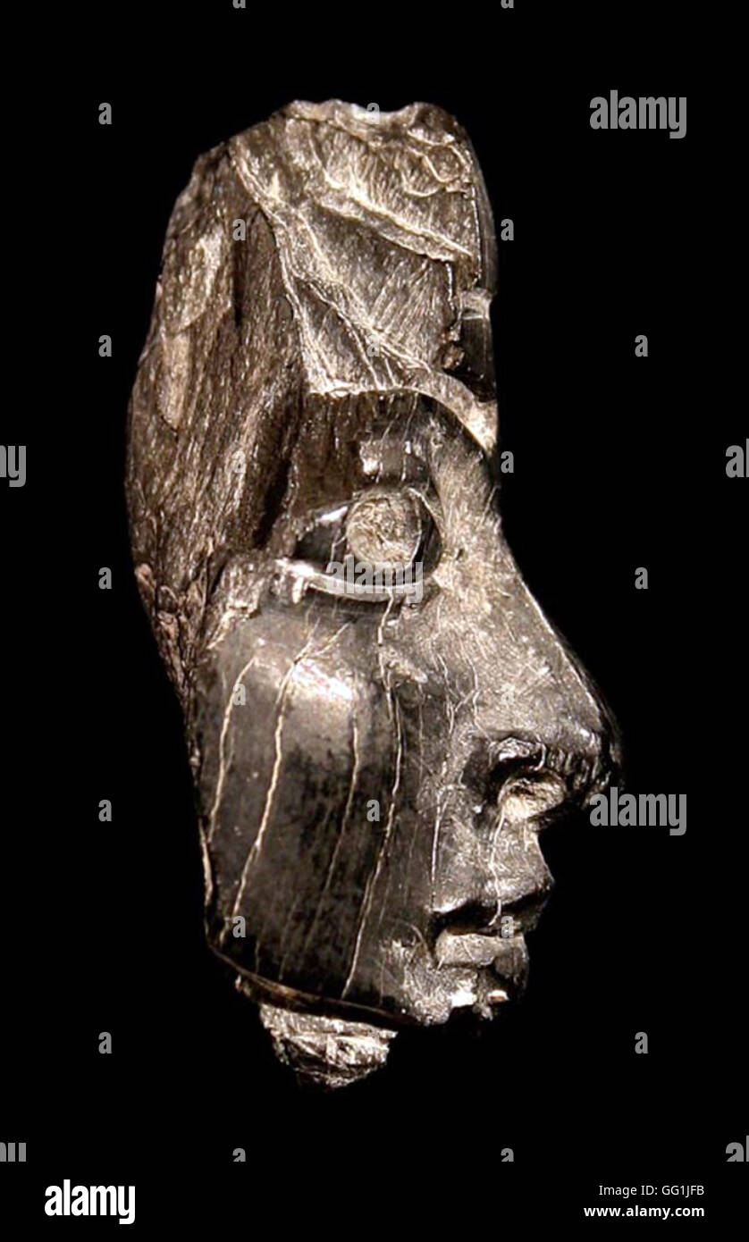5854. Samaria, fragment of a carved ivory head, c. 8th. C. BC - Stock Image