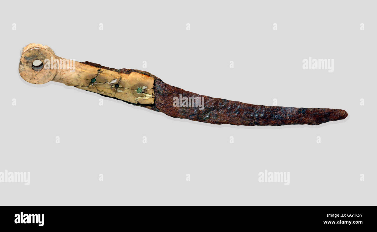 5907. Knife, ivory handle with iron blade, Ekron (Israel) 11th. C. BC - Stock Image