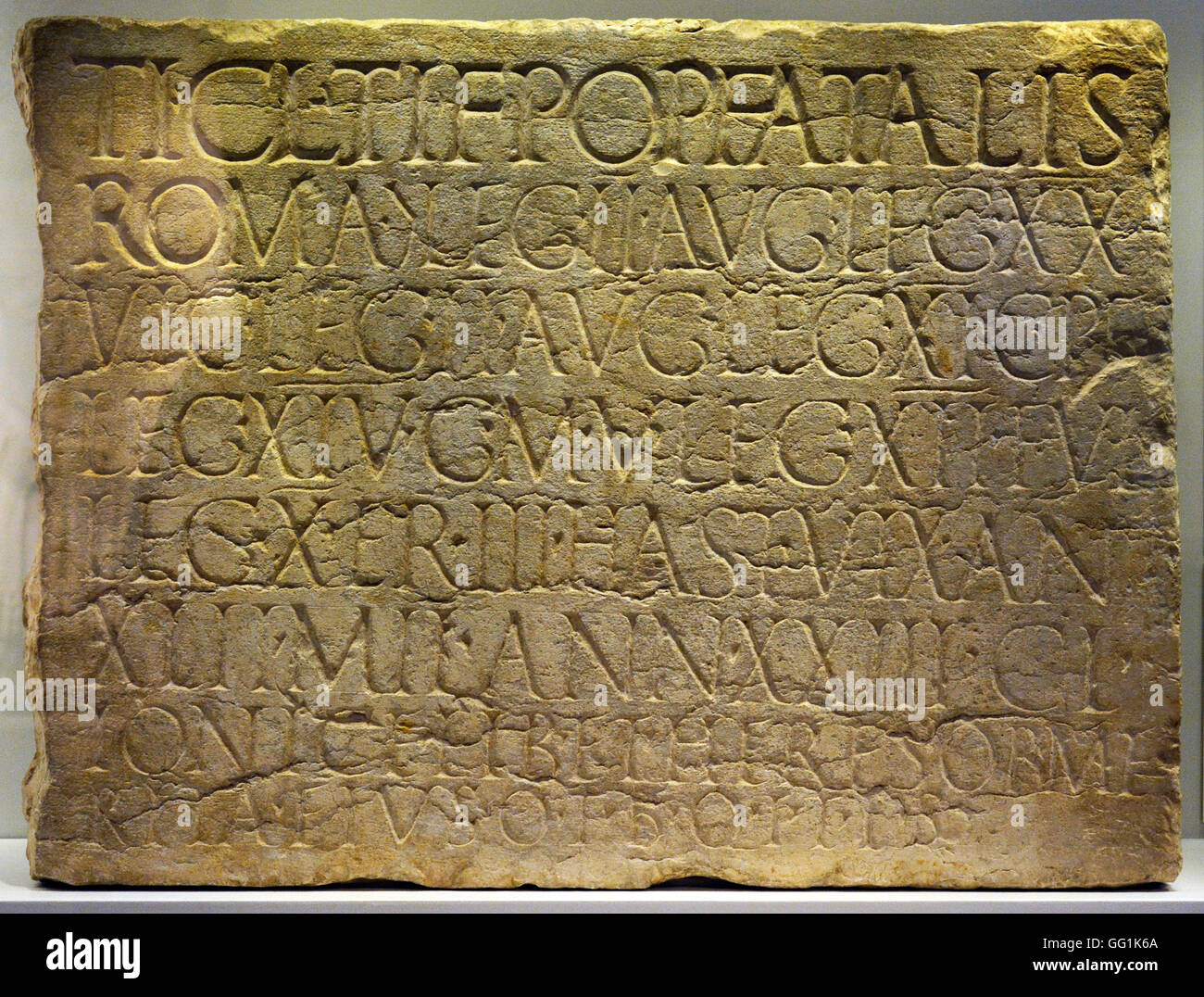 5914. Tombstone inscription of a Roman Centurion who died in Jerusalem in the 1st. C. AD - Stock Image