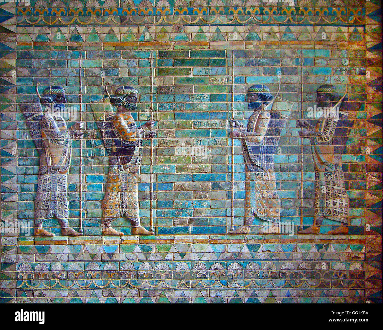 5926. ELAMITE GUARD OF THE PERSIAN ARMY DEPICTED IN FULL SPLENDOR. GLAZED BRICK FROM THE ACHAEMENID PALACE IN SUSA - Stock Image