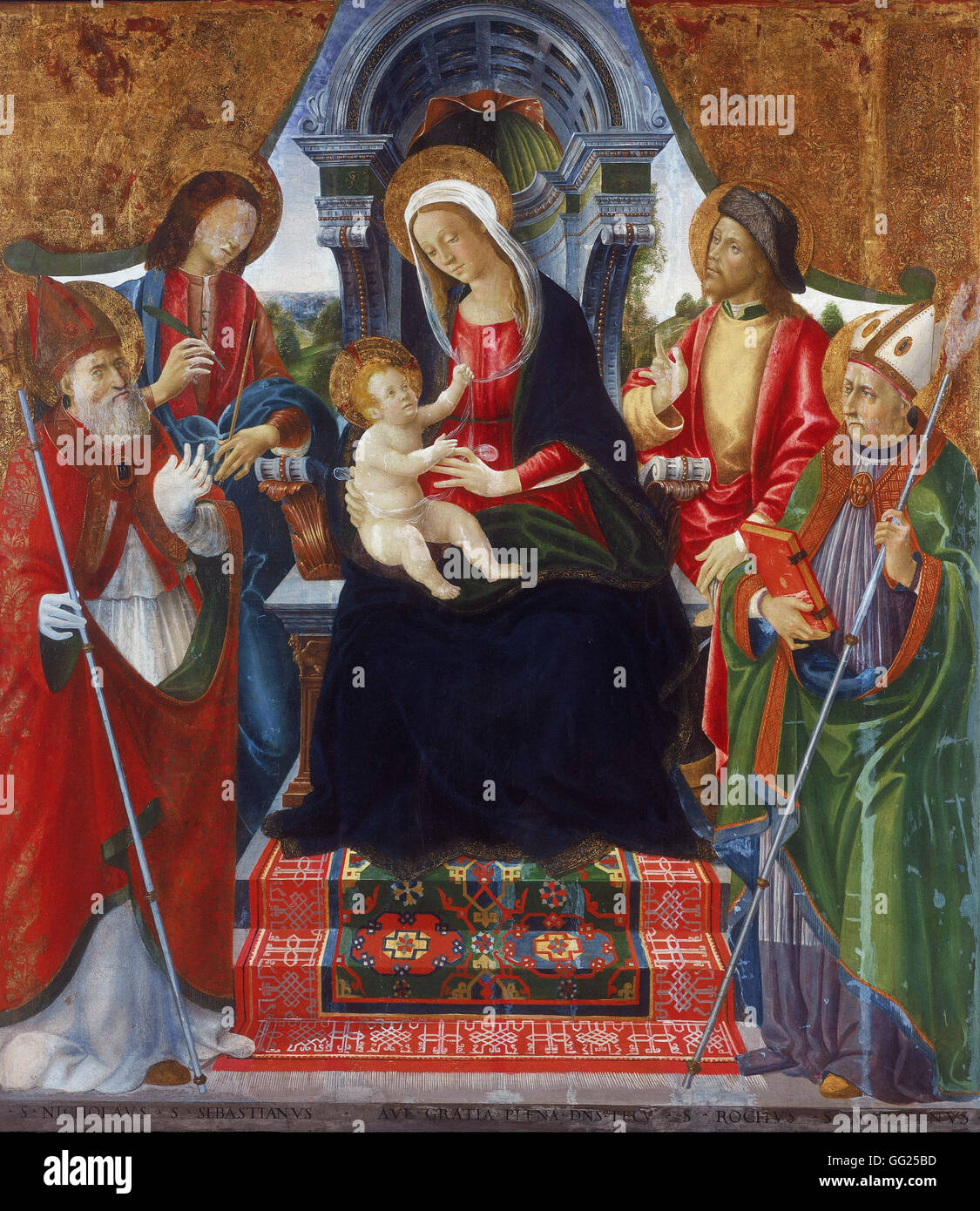 Lucchese School Late 15th Century - Virgin and Child with Saints Nicholas, Sebastian, Roch and Martin - Stock Image