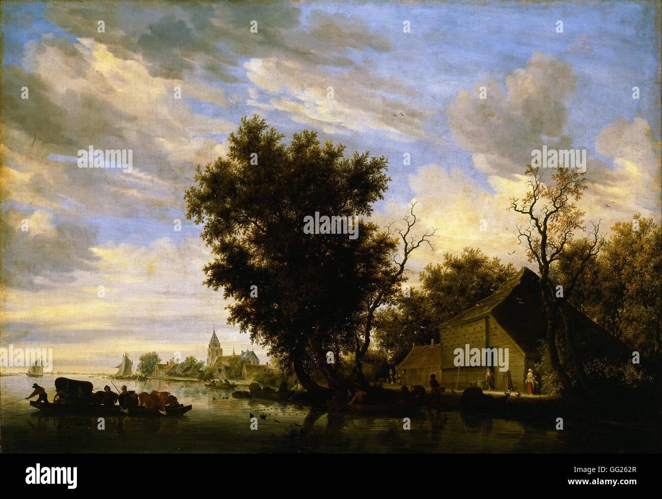 Salomon van Ruysdael - River scene with ferry boat Stock Photo