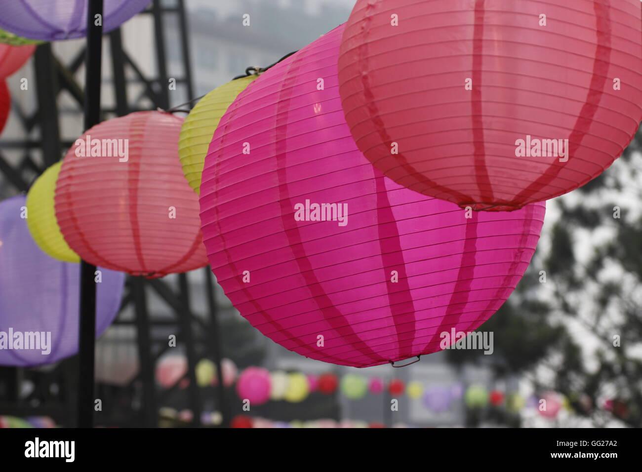 round colorful paper lanterns - Stock Image