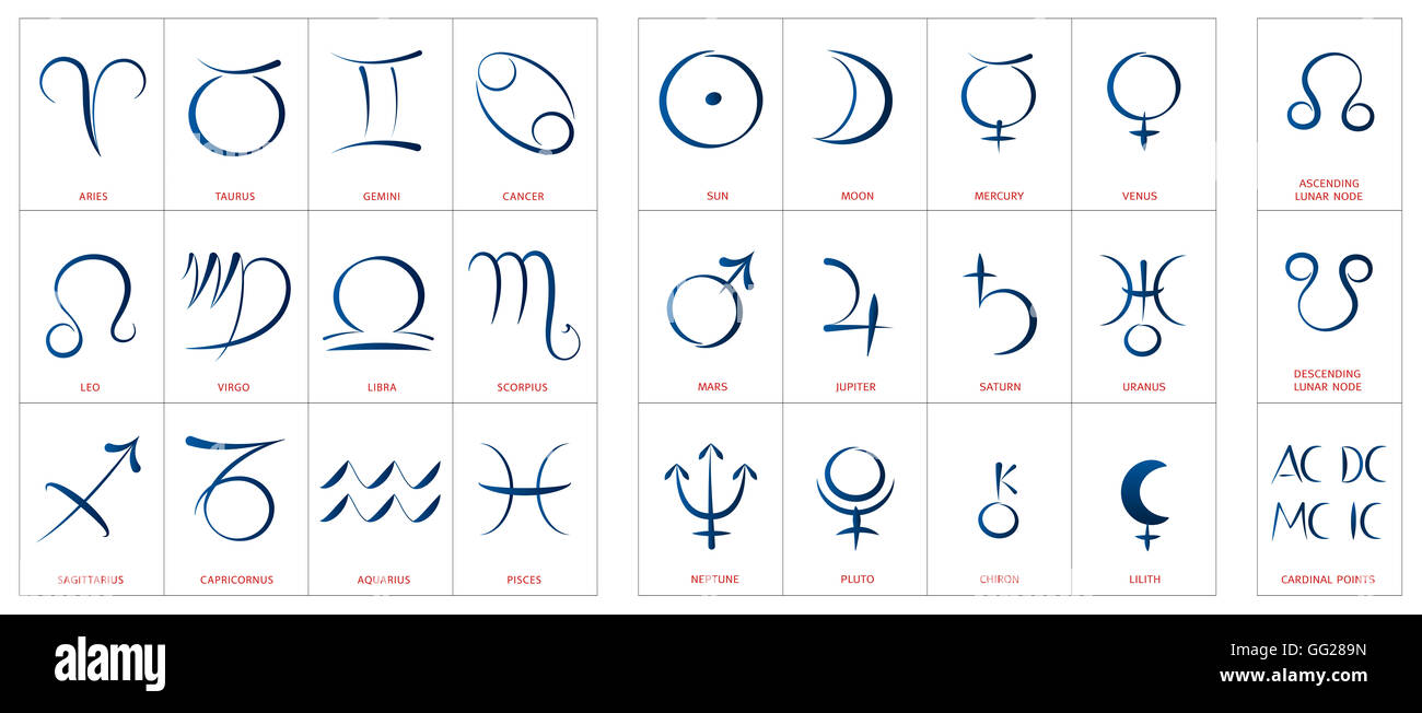 Astrology Symbols Signs Of The Zodiac Planetary Gods And Lunar Stock Photo Alamy