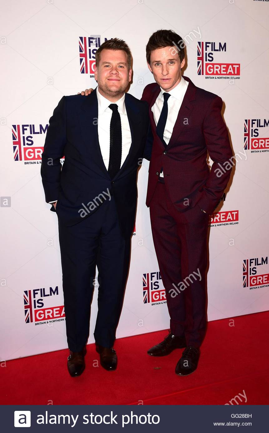 File photo dated 26/02/16 of James Corden (left) and Eddie Redmayne, as Corden complained that acting is becoming - Stock Image