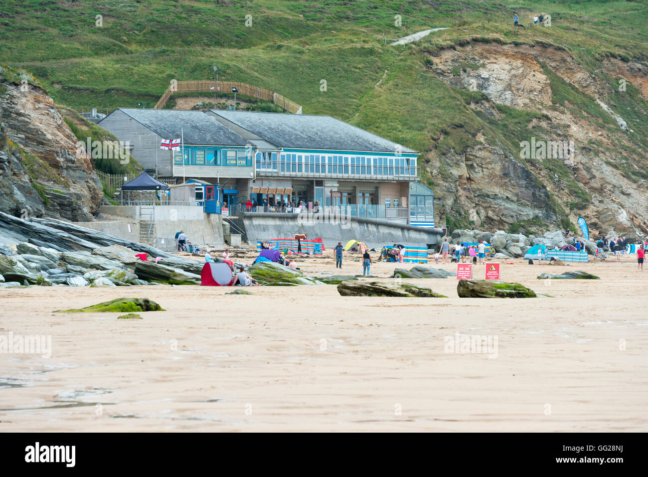 Buildings including 15 or Fifteen the restaurant owned by Jamie Oliver at Watergate Bay Cornwall UK - Stock Image
