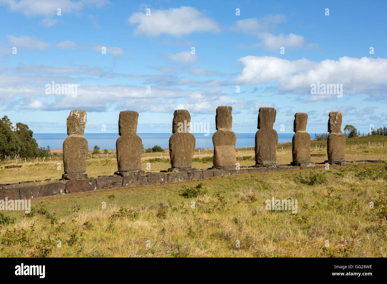 Statues on Easter Island - Stock Image