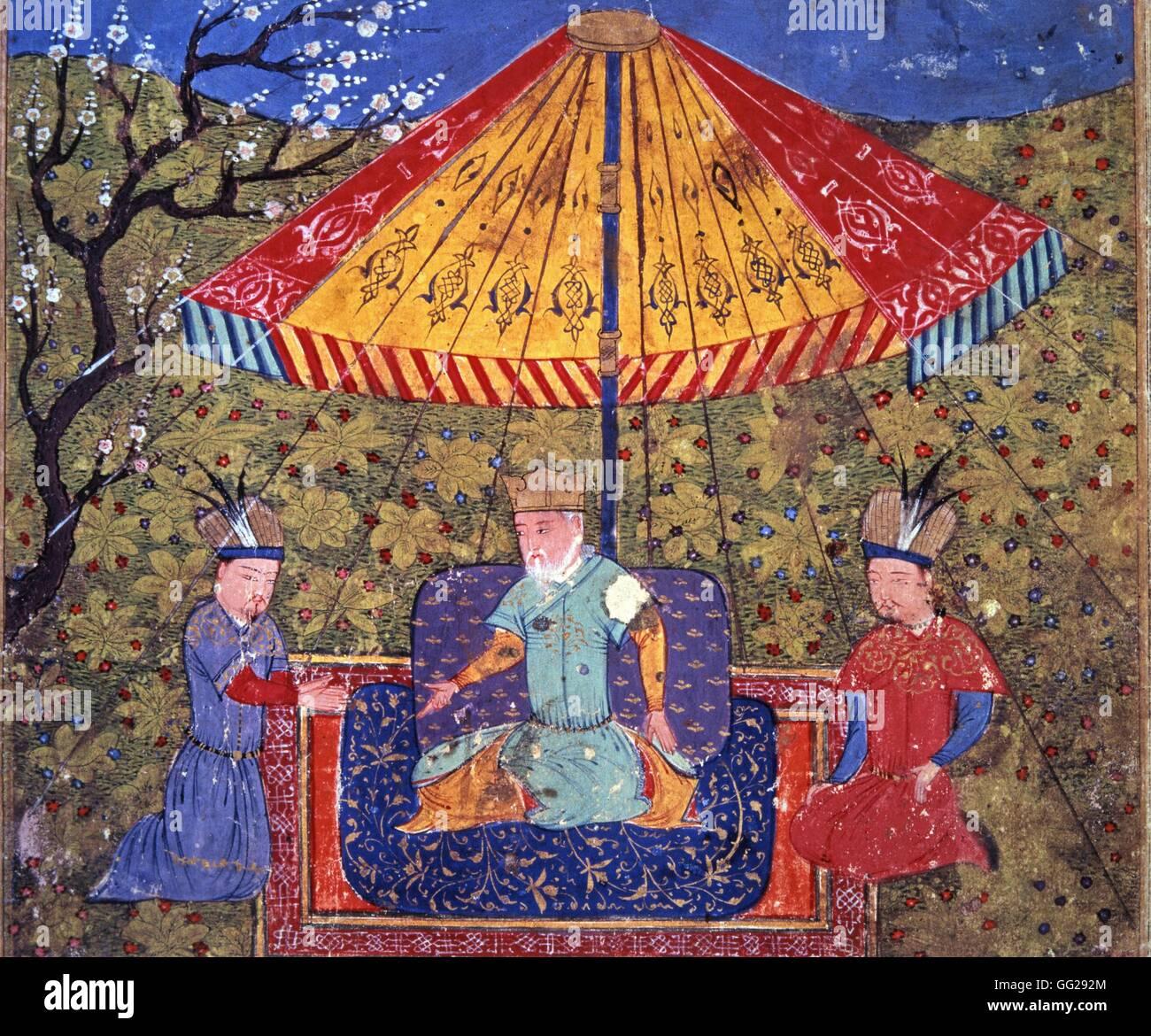 Rashid Al-Din (1247-1318) Gengis Khan (1167-1227) entre deux dignitaires mongols Miniature du Jami al-tawarikh (Histoire Stock Photo