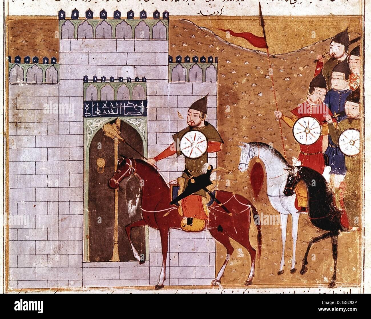 Rashid Al-Din (1247-1318) Le général Moukha et les troupes mongoles assiègent la ville de Tchang - Stock Image