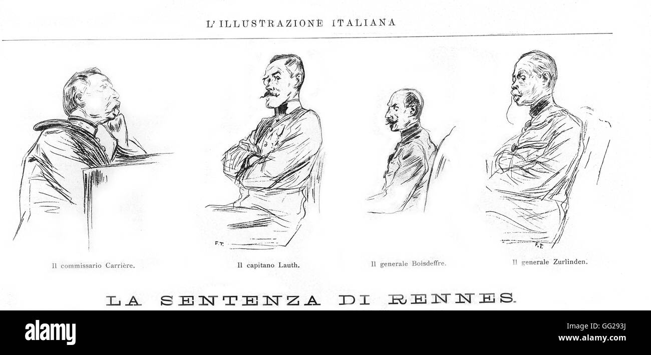 Dreyfus affair, the Rennes trial (1899) in 'l'Illustrazione Italiana' From the l. to the r.: Commissar - Stock Image