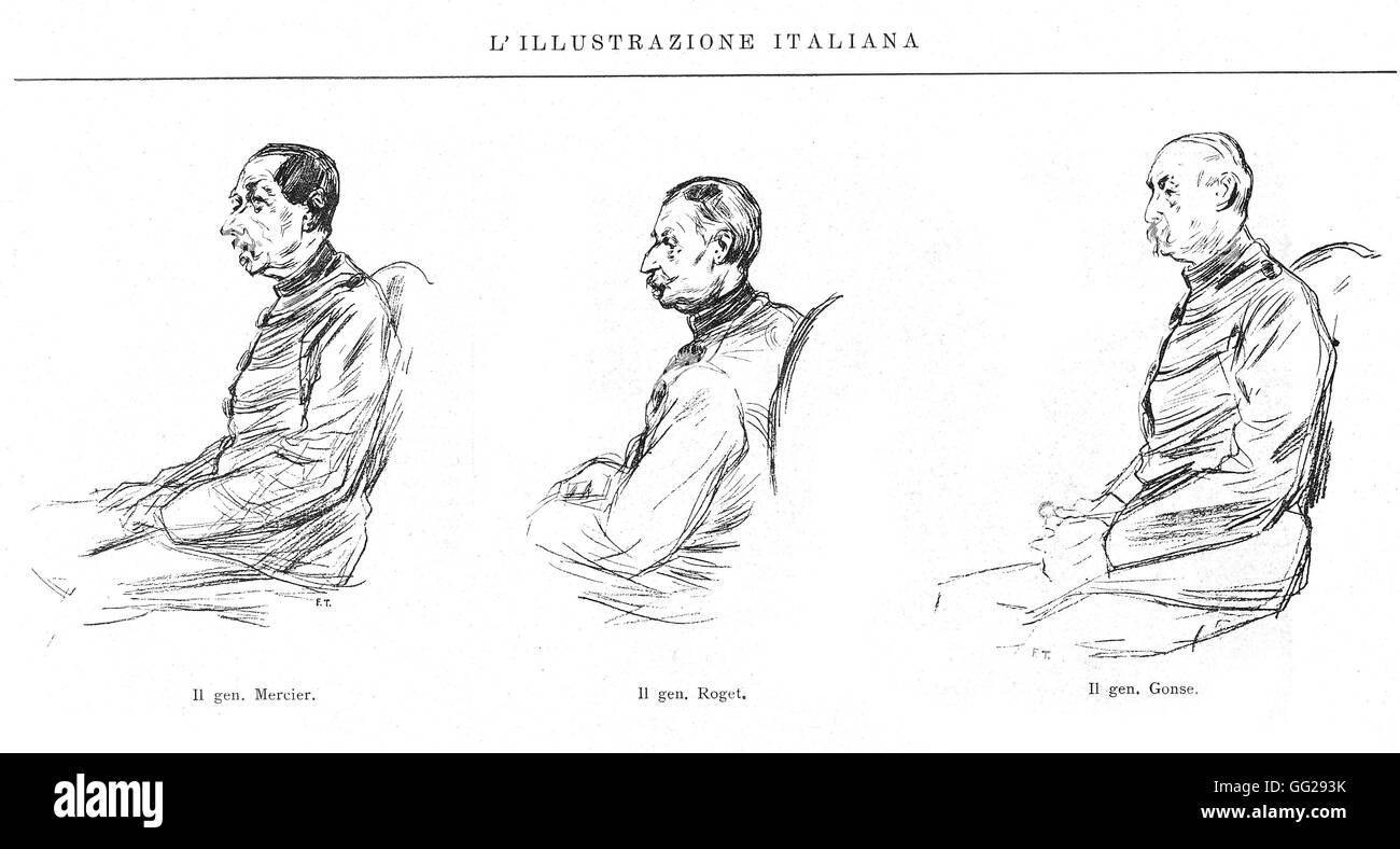 Dreyfus affair, the Rennes trial (1899) in 'l'Illustrazione Italiana' From the l. to the r.: General - Stock Image