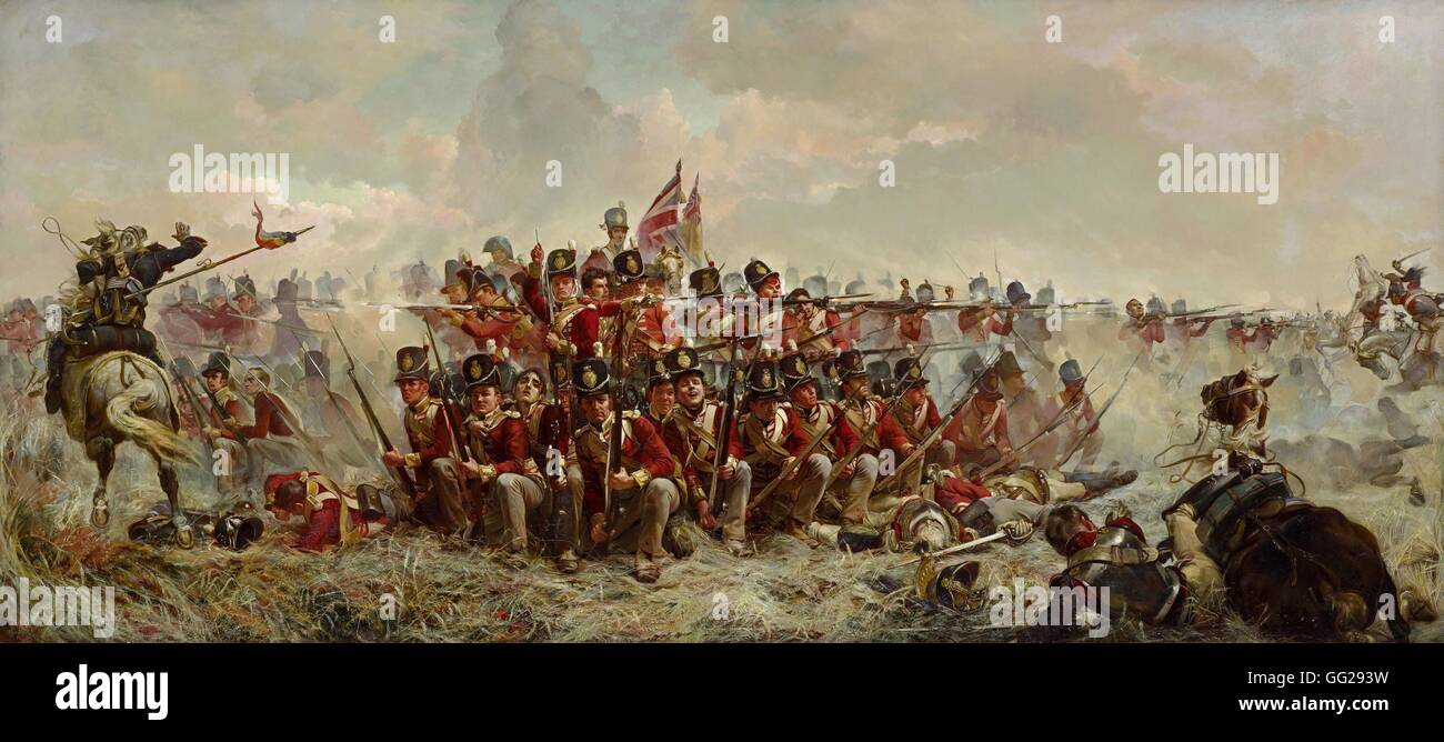 Elizabeth Thompson, Lady Butler English School The 28th Regiment at Quatre Bras (June 16th, 1815) 1875 Oil on canvas - Stock Image
