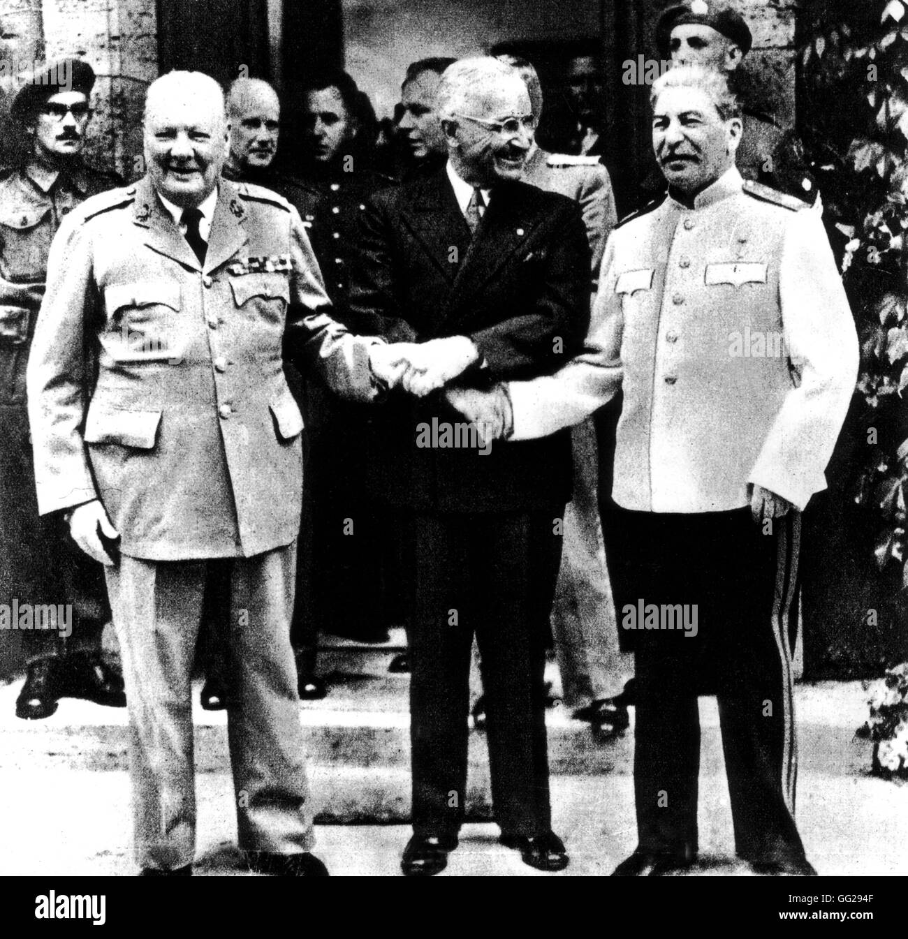 Potsdam Conference. Truman, Stalin and Churchill November 1945 Second World War - Stock Image
