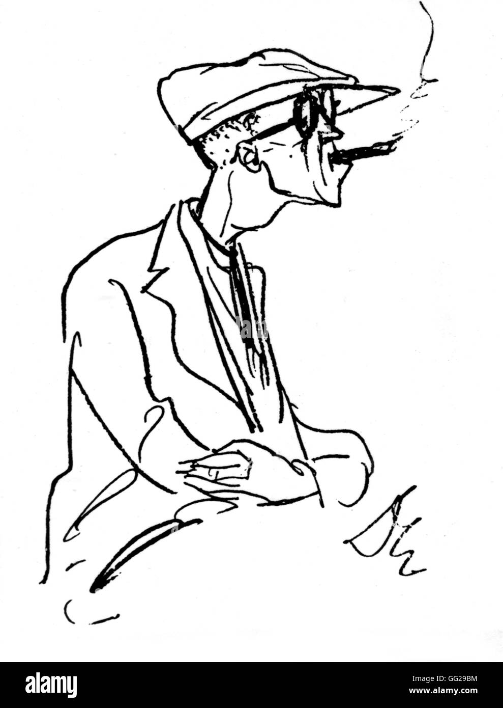 Caricature of Bertold Brecht (1898-1956) 20th century Germany Paris. Bibliothèque nationale - Stock Image