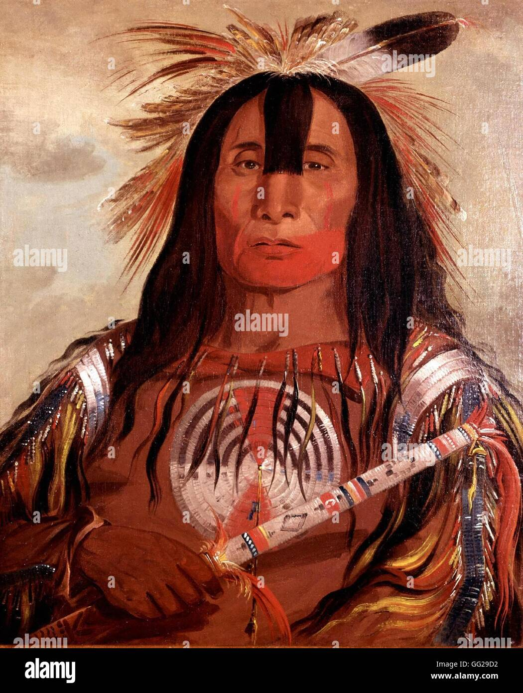 George Catlin. 'Buffalo Back Fat', high chief of the Blackfoot tribe (North American redskins). 1846 United - Stock Image