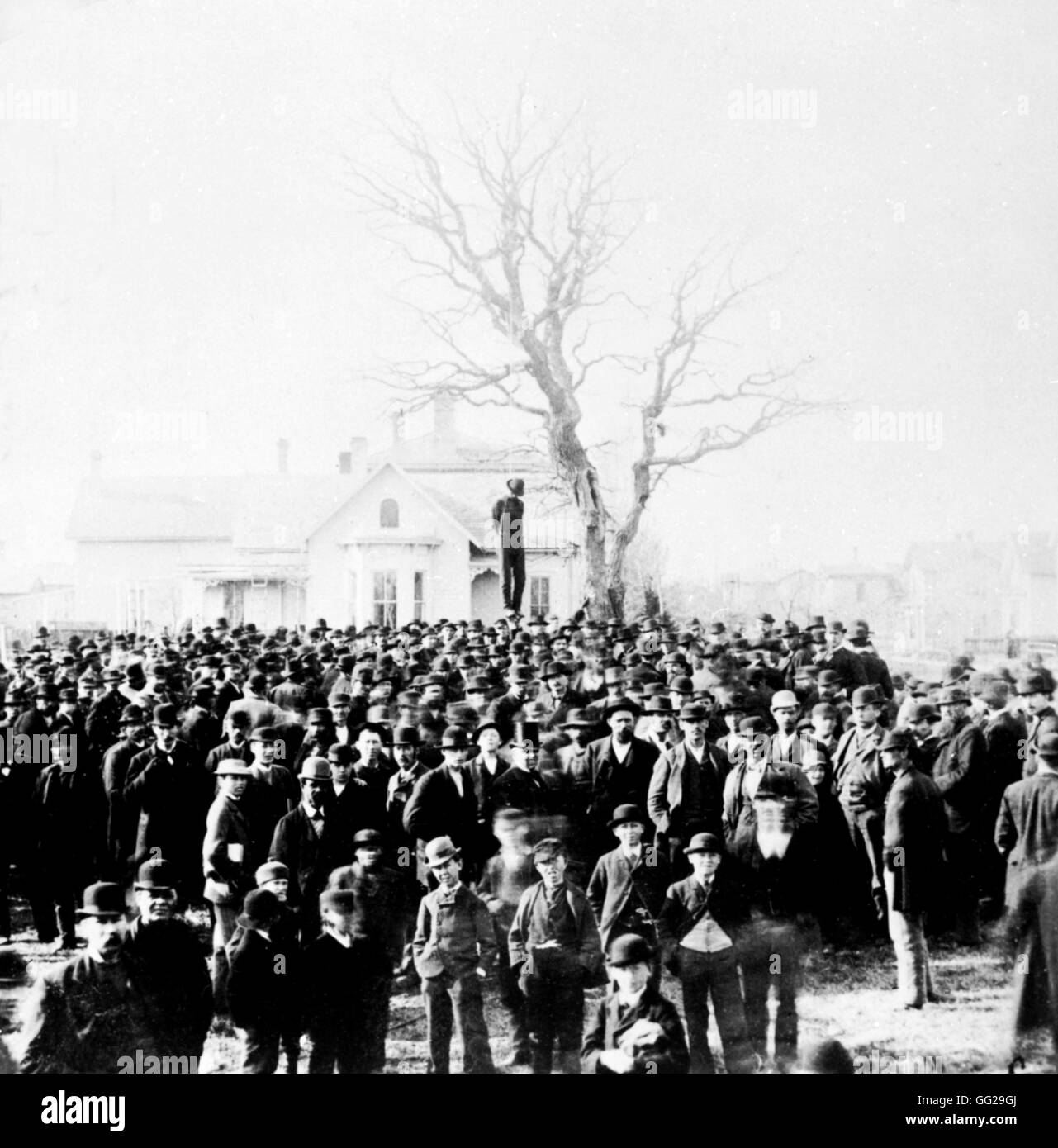 Lynching of a black man 1882 United States Washington. Library of Congress - Stock Image