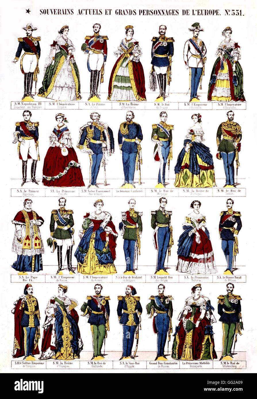 Epinal popular print Monarchs and characters of the Second Empire 19th century France - Stock Image