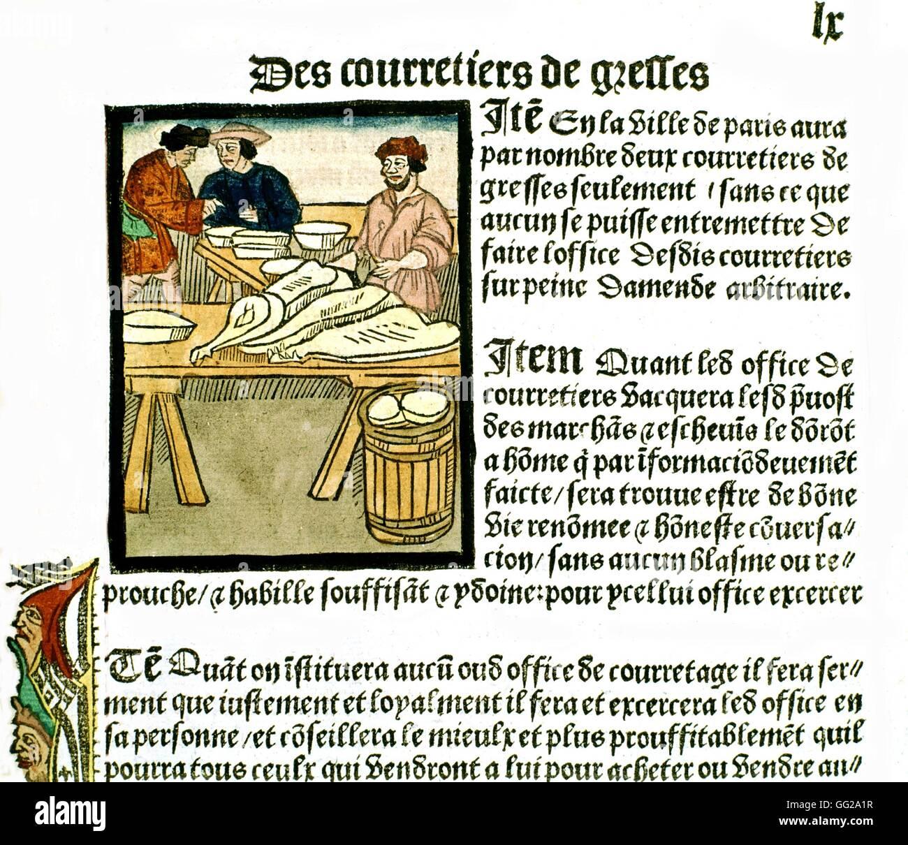 Royal edict of the Paris merchants provotship.  1500 France Paris. Bibliothèque de l'arsenal - Stock Image