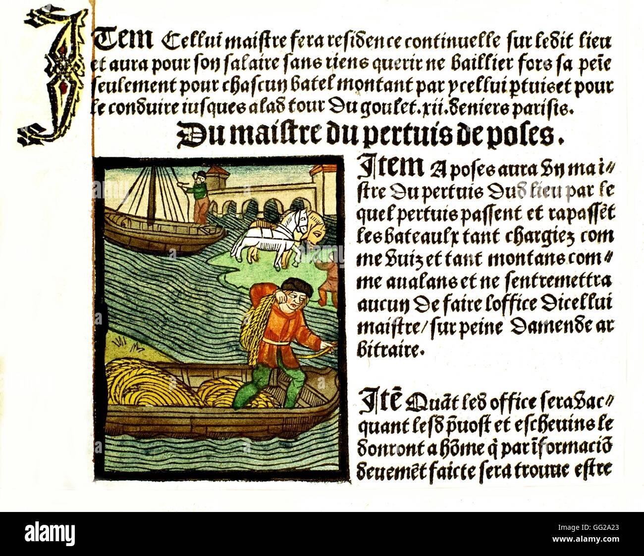 Royal edict of the Paris merchants provotship.  Boatmen 1500 France Paris. Bibliothèque de l'arsenal - Stock Image