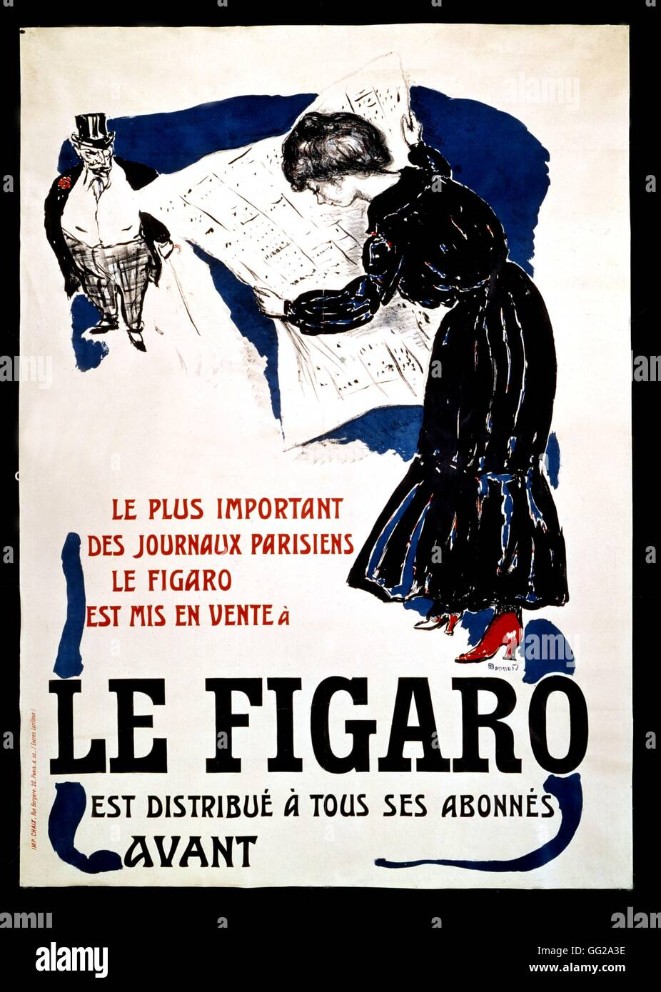 Pierre Bonnard (1867-1947) French school Advertising poster for 'Le Figaro' newspaper 20th century France - Stock Image