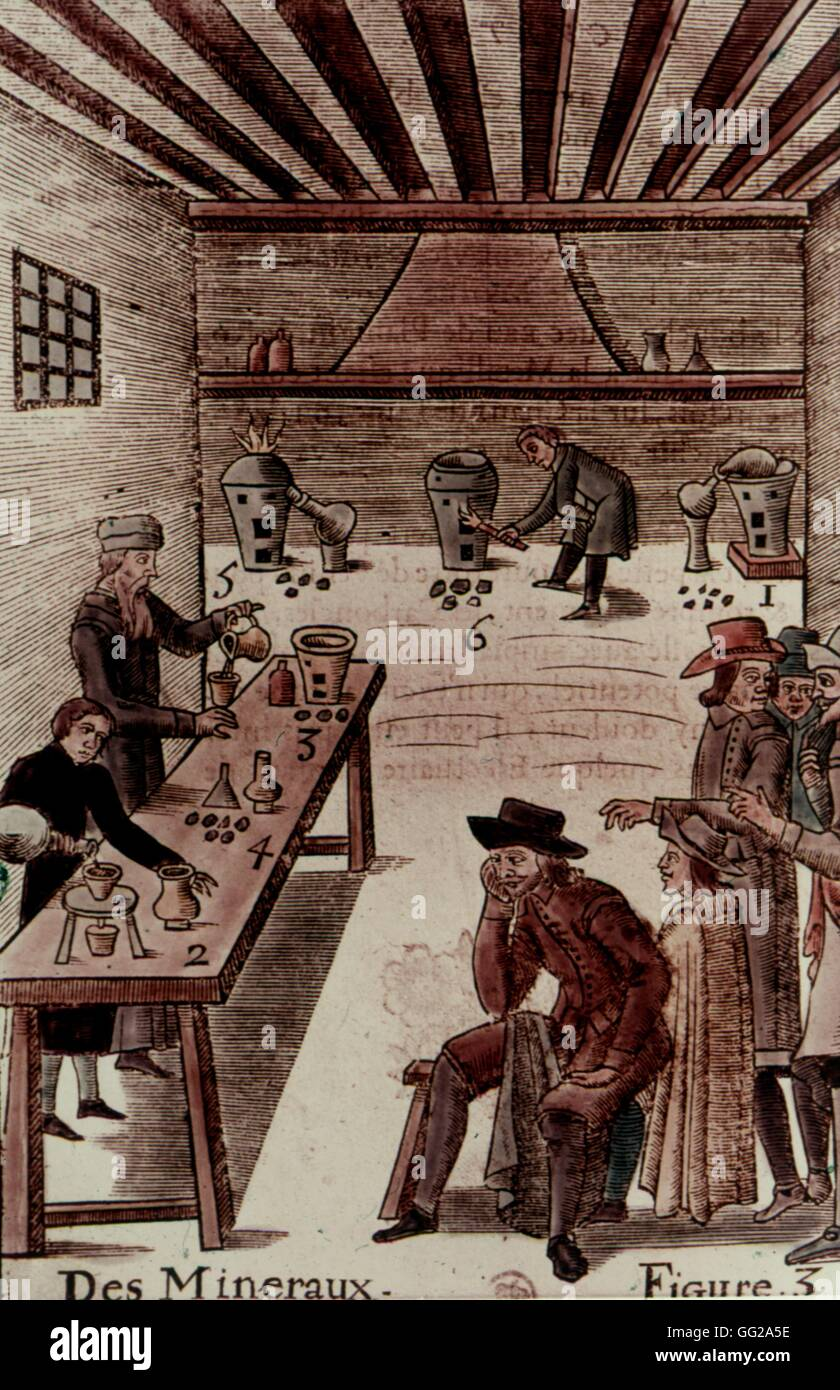 Chemistry or alchemy laboratory in the 17th century, in A. Barlett : 'About minerals' (1653).  Ethiopia - Stock Image