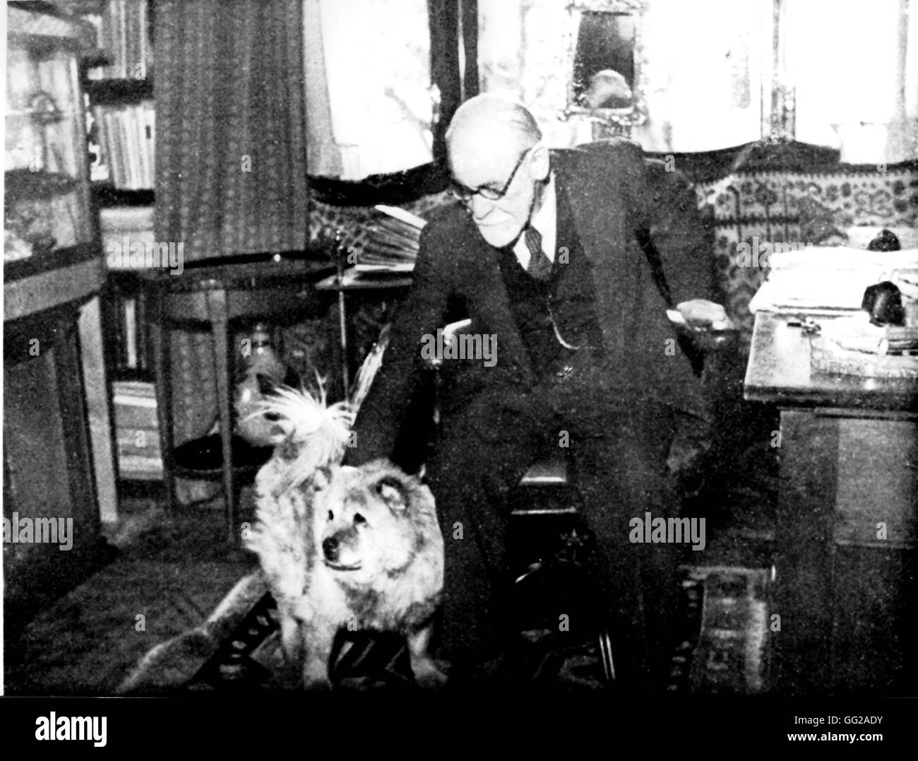 Freud in his work place 20th century Austria - Stock Image