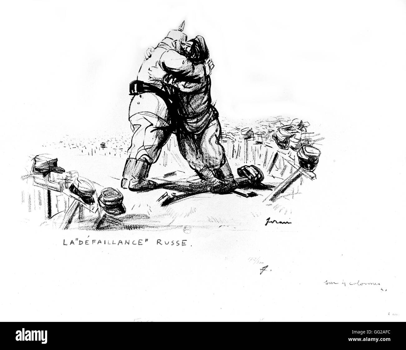 Caricature by Jean-Louis Forain (1852-1931). 'The Russian Failure' 02-26-1918 France - World War I Paris. - Stock Image