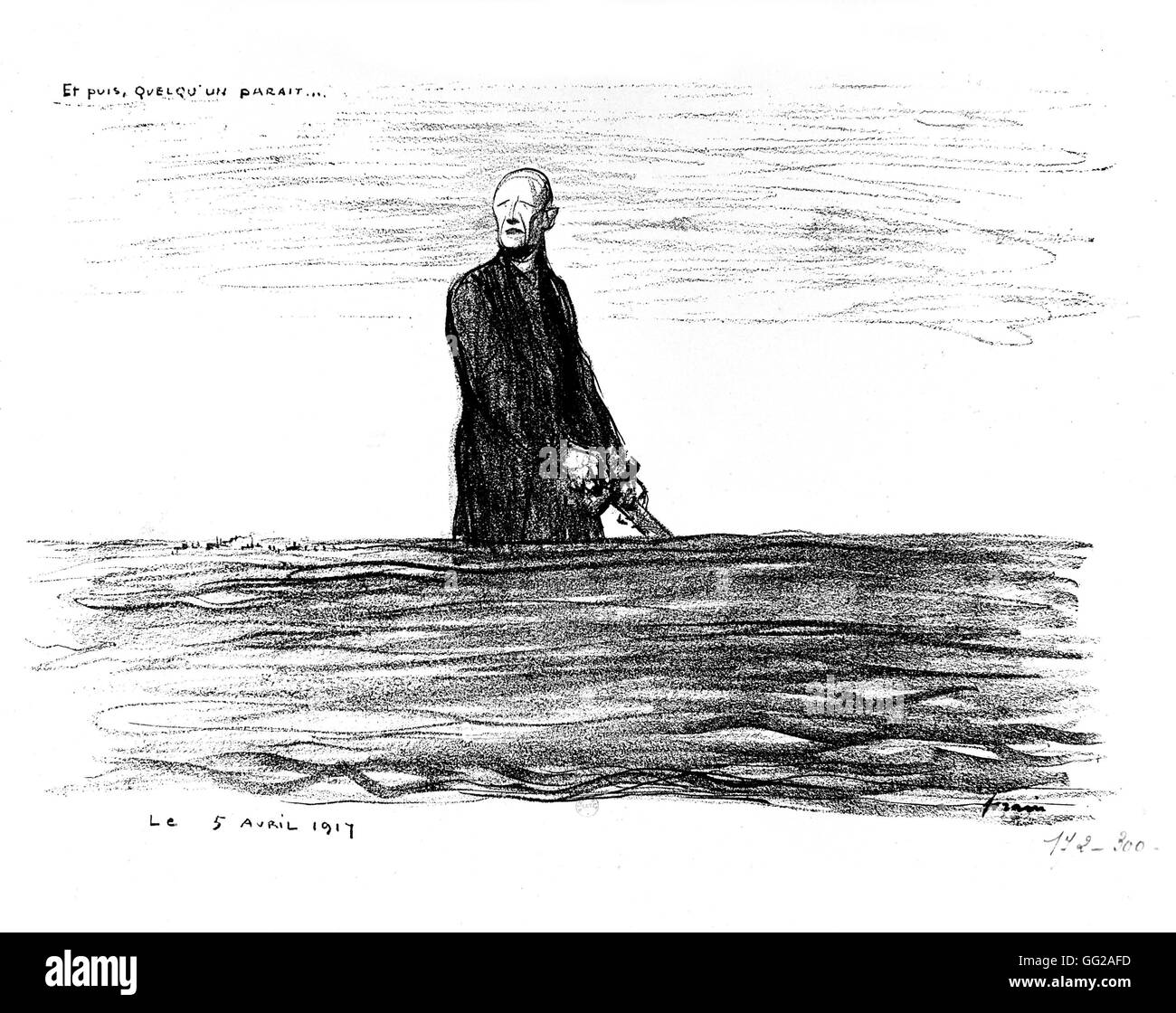 Caricature by Jean-Louis Forain (1852-1931). 'And then, someone appears...' April 5 1917 France - World - Stock Image