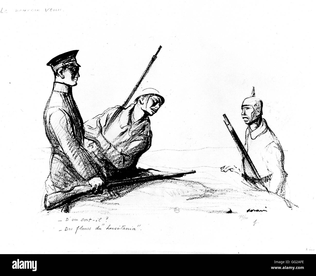Caricature by Jean-Louis Forain (1852-1931). 'The newcomer'. (concerning the Lusitania) July 14 1917 France - Stock Image