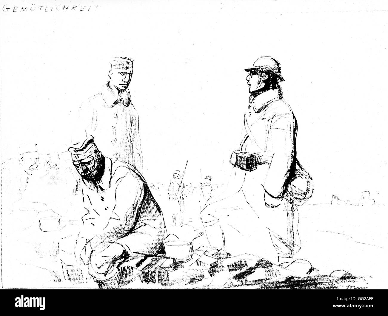 Caricature by Jean-Louis Forain (1852-1931) in 'From the Marne to the Rhine', drawings from the war years - Stock Image