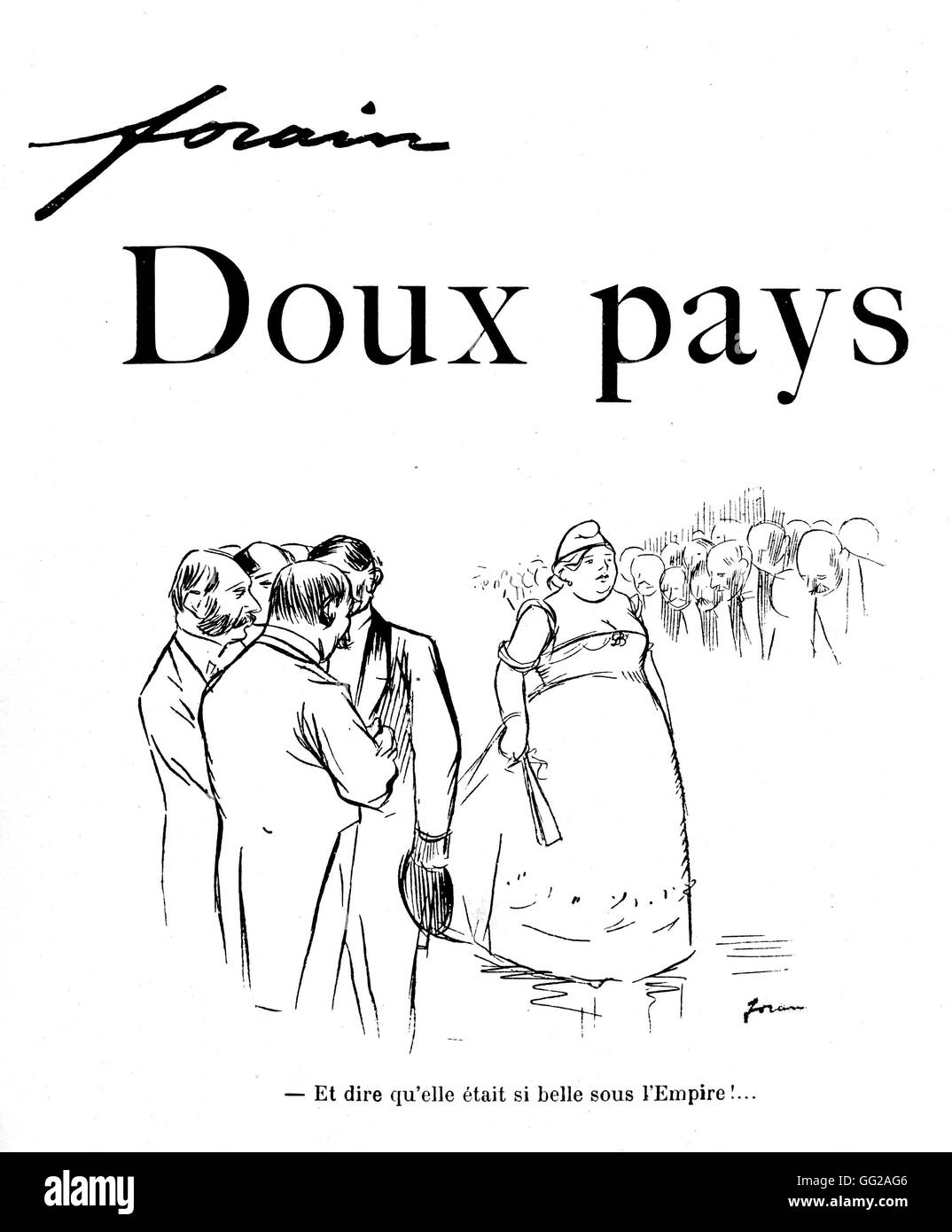Drawing by Jean-Louis Forain (1852-1931). 'Gentle Homeland' (Literal translation from the French: 'Soft - Stock Image